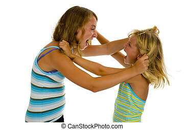 two sisters fighting - two sister girls having an argue,...