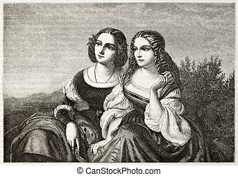 Two sisters - Old illustration of two sisters. Created by...