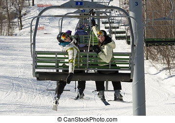 Two sisters on chair lift