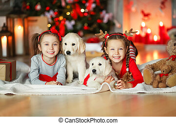 Two sisters with pets dogs under a Christmas tree