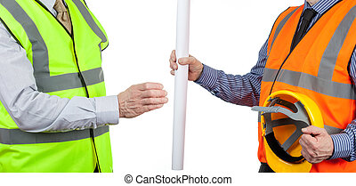 Two site surveyors in high visibility vests handing over site plans
