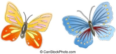 Two sketched butterflies in pastel colors