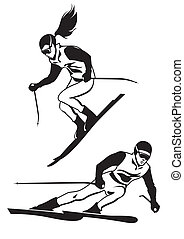 Two skiers on track - vector illustation