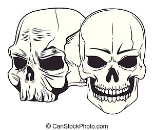 two skull drawn tattoo icon