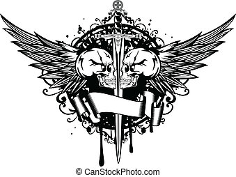 Two skulls, wings and sword