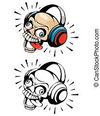 Two skulls with headphones
