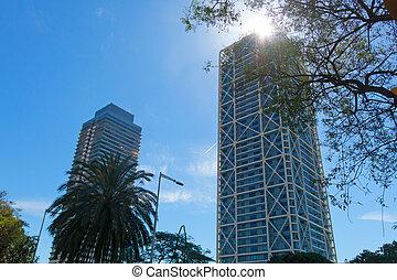 Two skyscrapers in Barcelona, Catalonia, Spain