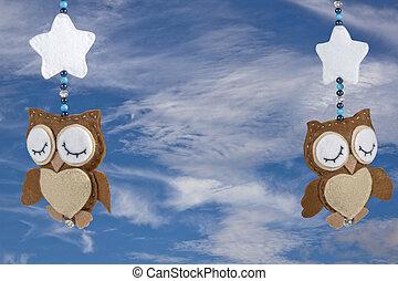 Two Sleeping Felt Owls on Baby Crib Mobile