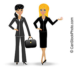 two slender business woman on white background, vector...