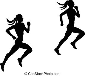 two slender female runner