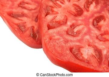 Two Sliced Tomato Closeup Isolated On White Background