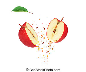 two slices of Apple isolated white background