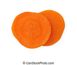 Two slices of carrot on a white background.