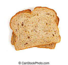 two slices of whole grain bread on white