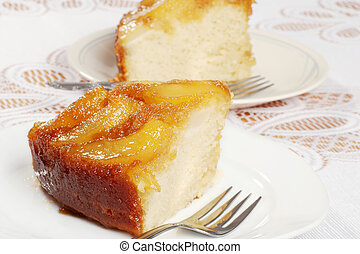 two slices upside down pear cake