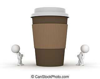 Two Small 3D Characters Looking Up at Large Coffee Cup