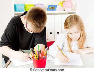 children in kindergarten painting drawings