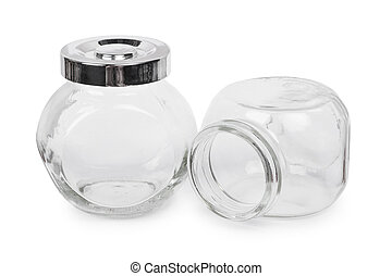 Two small empty glass jars isolated