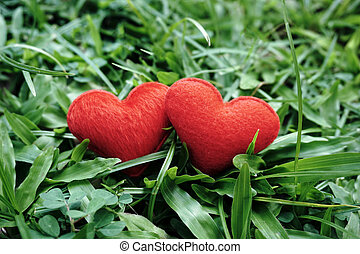 Two small red hearts in a grass meadow