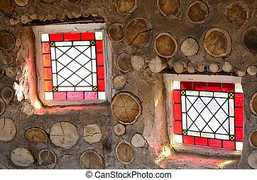 Two small red windows