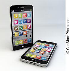two smartphones - render of two original smartphones