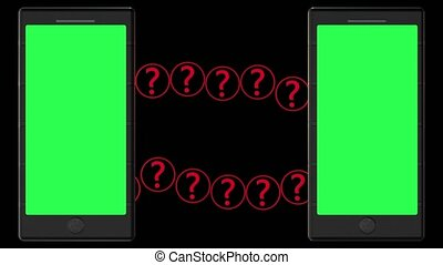 Two smartphones with green screens and question mark concept on black