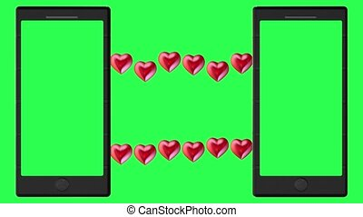 Two smartphones with green screens and red hearts concept on green