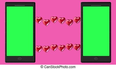 Two smartphones with green screens and red hearts concept on pink