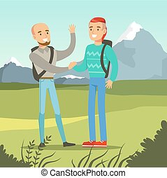 Two smiling best male friends meeting on a nature background, friendship concept vector Illustration