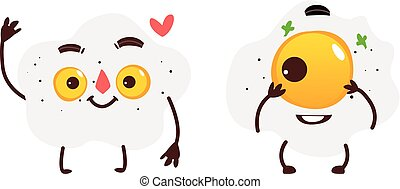 Two smiling fried sunny side up egg characters