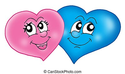 Two smiling hearts on white background - color illustration.