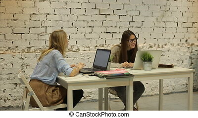 Two smilling businesswomen working on laptop at office