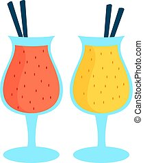 Two smoothies, illustration, vector on white background.