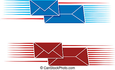 Two snail mail icons with two envelopes, one long one small, with a pattern of parallel lines on either side in red and blue, vector illustration on white