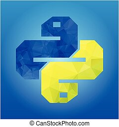two snakes Icon isolated on blue background. Trendy boa ...