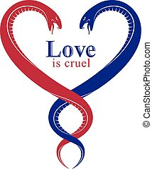 Two Snakes in a shape of heart, love is cruel concept, lovers couple arguing, quarrels in relations, vector logo emblem or tattoo in vintage classic style.
