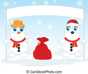 Two snow persons