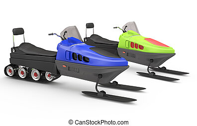 two snowmobiles on white. 3d rendered image