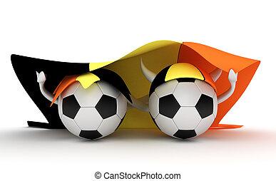 Two soccer balls hold Belgium flag - 3D cartoon Soccer Ball ...