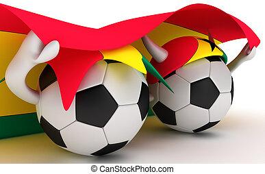 3D cartoon Soccer Ball characters with a Ghana flag.