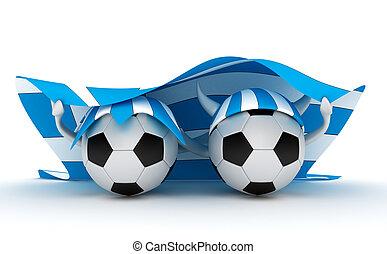 Two soccer balls hold Greece flag