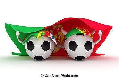 Two soccer balls hold Portugal flag