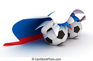 Two soccer balls hold Russia flag - 3D cartoon Soccer Ball...