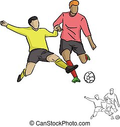 two soccer players fighting for a ball vector illustration sketch doodle hand drawn with black lines isolated on white background