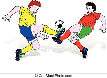Two soccer players (in blue and green shorts) in a jump hit the ball with a foot, cartoon on a white background,