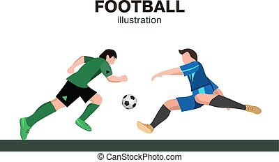 Two soccer Players in top form with the ball. Football players