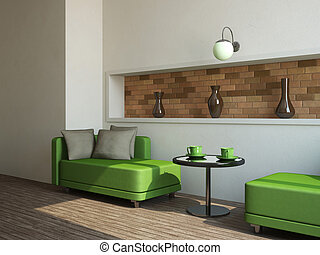 Two sofas and table - Two green sofas and little table near ...