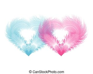 Two soft hearts shaped by blue and pink feathers. Eps10