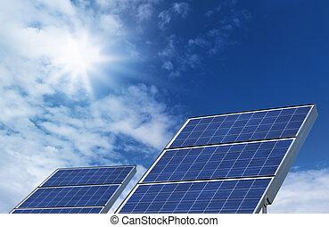 Two solar panels blue sky
