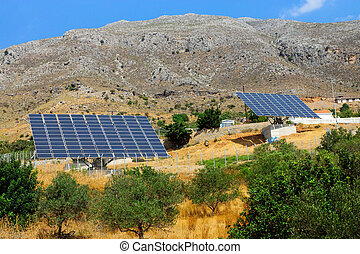 Two solar panels on Crete island